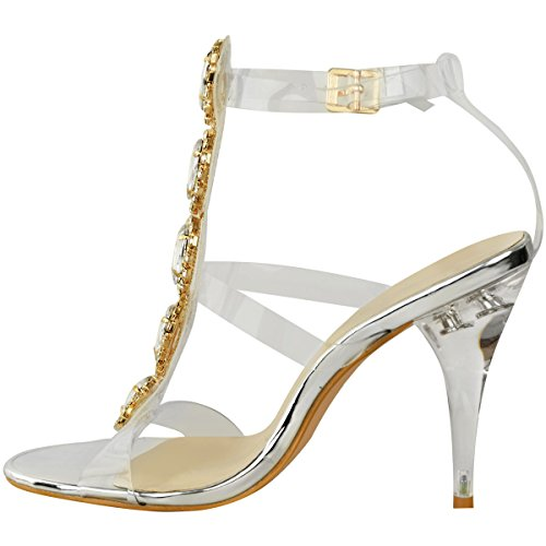 Fashion Thirsty High Heel Party Jewel Diamante Perspex Prom Wedding Sandals Size Silver Metallic hPOqwVvBN