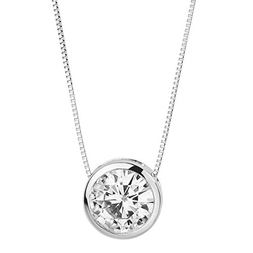 Bezel Round Moissanite Pendant - Forever Brilliant White Gold 6.5mm Moissanite Pendant Necklace, 1.00ct DEW by Charles & Colvard
