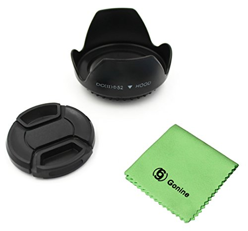 Gonine 52mm Lens Hood and 52mm Center Pinch Lens Cap Kit Compatible with Nikon AF-S 18-55mm, 55-200mm f/4-5.6G ED VR II, 50mm f/1.8D, 35mm f/1.8G and Pentax Canon Sony Camera -