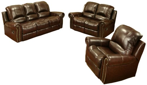 Abbyson Living Mercer Reclining Italian Leather Sofa/Loveseat/Armchair Set