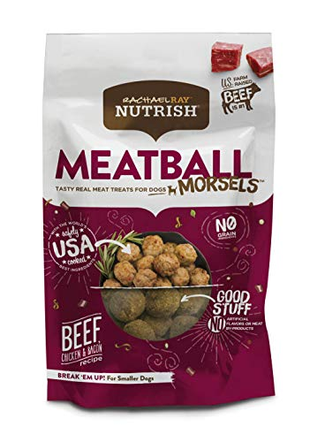 Rachael Ray Nutrish Meatball Morsels Grain Free Dog Treats, Beef, Chicken & Bacon Recipe, 12 Oz.