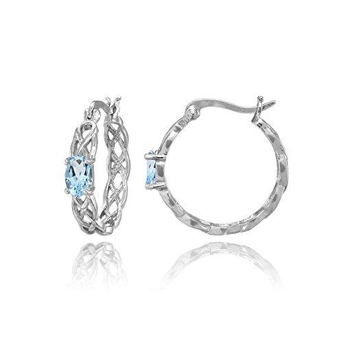 Sterling Silver Genuine or Created Gemstone Celtic Knot Round Hoop Earrings