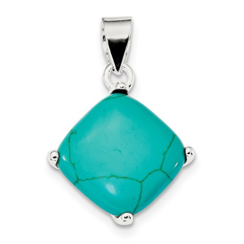(Sterling Silver Square Turquoise Pendant (1.14 in x 0.98 in))