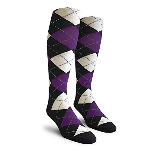 (Argyle Golf Socks: Over-the-Calf - Black/Purple/White - Mens )