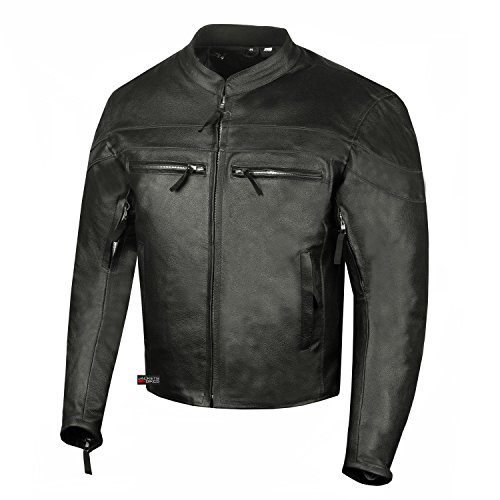 Men's Throttle Classic Leather Motorcycle Street Cruiser Armor Biker Jacket ()