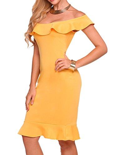 Sheshow Women's Ruffle Sleeveless Evening Slim Fit Mermaid Dress,Yellow,L - Puffy Yellow Dress