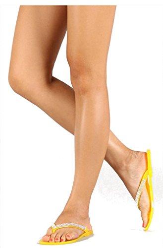 Diviana Womens Devin-02 Sandalo Piatto Infradito In Strass Giallo