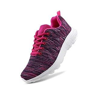 JABASIC Women's Breathable Knit Sports Running Shoes Casual Walking Sneaker (8 B(M) US, Fuchsia-1)