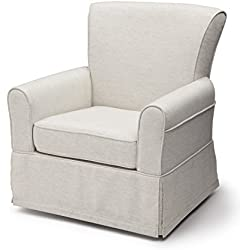 Delta Children Upholstered Glider Swivel Rocker Chair, Sand