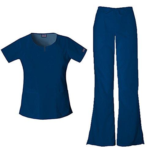 Flare Set - Cherokee Women's Workwear Round Neck Top 4824 & Drawstring Flare Leg Pant 4101 Scrub Set (Navy - X-Large/Large)