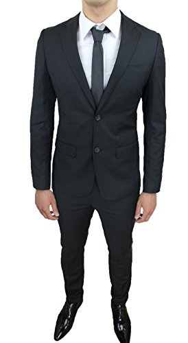 Abito Sartoriale Aderente Nero Slim Uomo Elegante Fit Completo Nuovo Cerimonia rHCqr