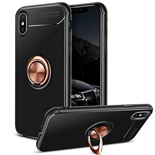DAUPIN for iPhone Xs Case iPhone X Case, 360 Rotating Ring Grip Stand Kickstand & Magnetic Metal Patch Shock Absorbing Bumper Soft TPU Cover for iPhone Xs/X (2018)-Rose Gold