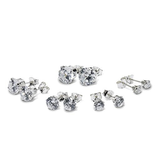 Sterling Silver Round Cut Cubic Zirconia Stud Earrings Five Pair Set Of 3mm 4mm 5mm 6mm ()