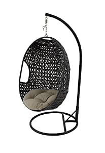 """Metal and Faux Rattan Pod Chair 37""""W, 80""""H"""