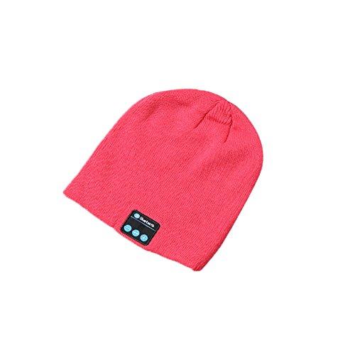 Wireless Bluetooth 4.1 Beanie Hat,Speakerphone Cap Headphone Headset Earphone Speaker,built-in Mic for Outdoor Sports Skiing Running Skating Walking,Christmas Gifts (Pink)