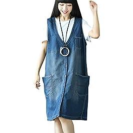 Women's Printed Patch Denim Vest Dress With Pockets