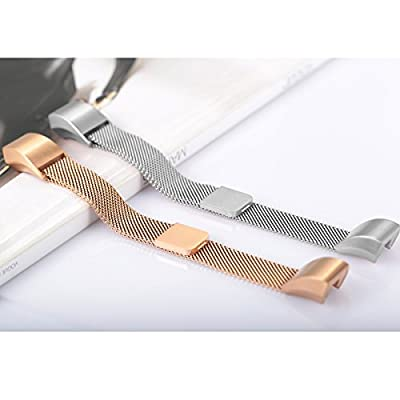 """For Fitbit Alta HR and Alta Bands, bayite Replacement Milanese Loop Stainless Steel Metal Bands Pack of 2 Large 6.7""""-8.1"""" Silver and Rose Gold"""