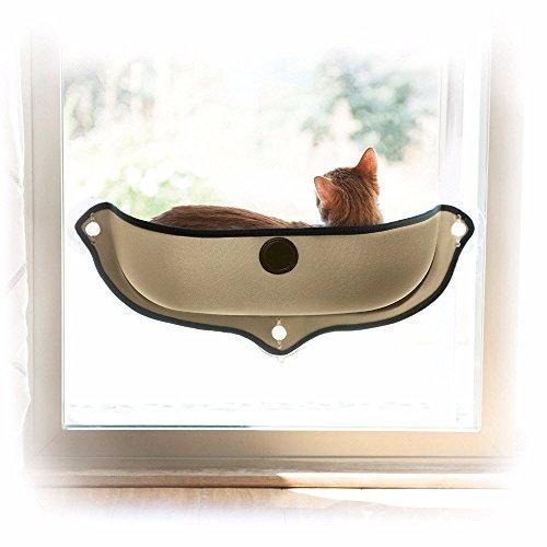 Brown Sugar Removable Cat Window Bed Sunbathing Window Mounted Hammock Lounger Perch Cushion Hanging Shelf (Grey) -