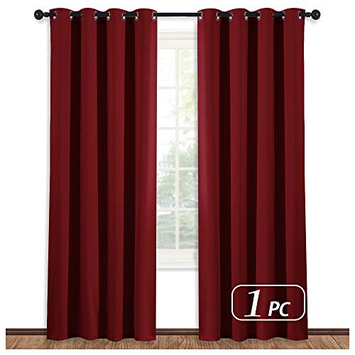 NICETOWN Burgundy Curtains for Living Room - (Burgundy Red) Home Decor Energy Smart Thermal Insulated Window Treatment Drape/Drapery for Patio Door, 52x84 Inch,1 - Room Living Burgundy