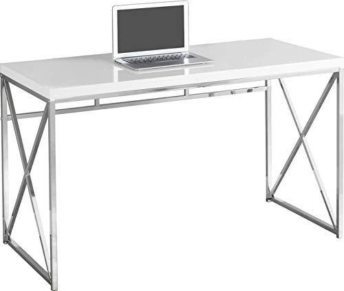 Wood Desk with Metal Base - Rectangular Desk with Chrome Legs - Glossy White ()