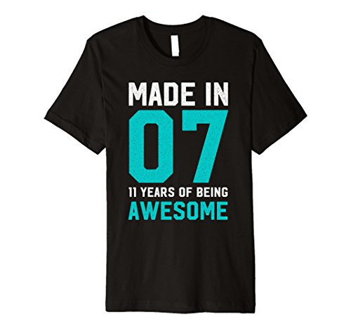 Made in 07 Awesome 11th Birthday T-Shirt (T-shirt Womens 07)