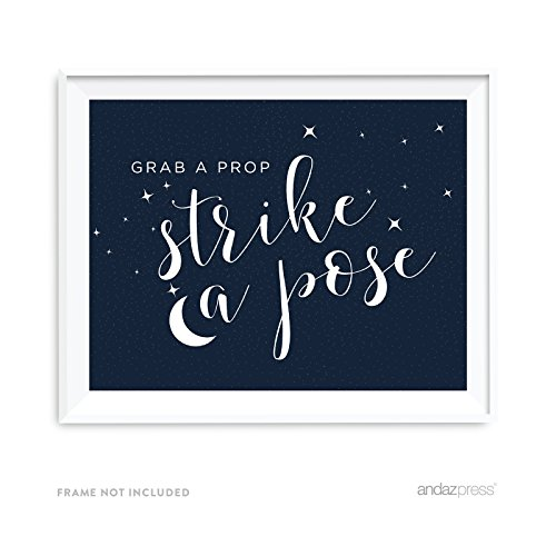 Andaz Press Love You to the Moon and Back Wedding Collection, Party Signs, Grab a Prop & Strike a Pose Photobooth Sign, 8.5x11-inch, 1-Pack