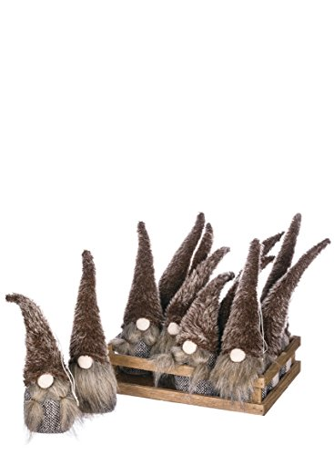 Sullivans PN2777 Gnome Ornaments in Crate, 3 L x 2 W x 9.5 H Inches, 10 L x 6.75 W x 2.25 H Inches, Grey, Set of 12 -