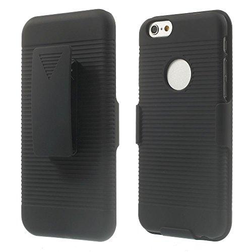 """Apple iPhone 6 4.7"""" Outdoor Case Holster Rutschfest gummiert Clip Belt Schwarz"""