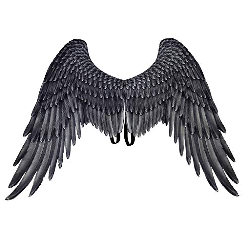 Fewear Feather Angel Wings Adult Children Unisex,Wings Halloween Mardi Gras Cosplay Pretend Play Dress Up Costume Accessory (Black)