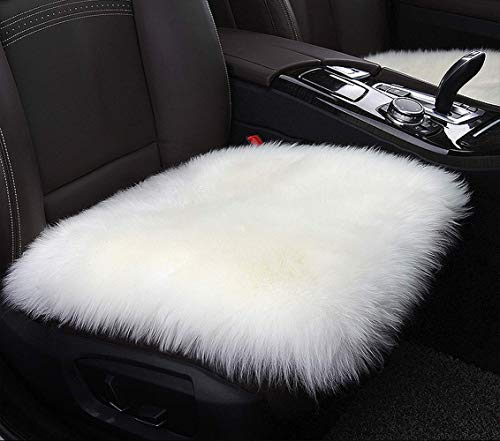YJ.GWL Soft High Pile White Faux Sheepskin Fur Chair Sofa Cover (20''x20''), Square Area Rugs Seat Car Cushion Throw (Cushions Pink And White)