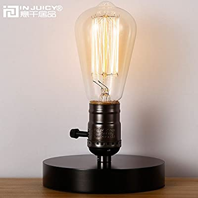 Injuicy Lighting Vintage Industrial Table Light Glass Edison Bulb Wooden Desk Lamp E27 (Black)