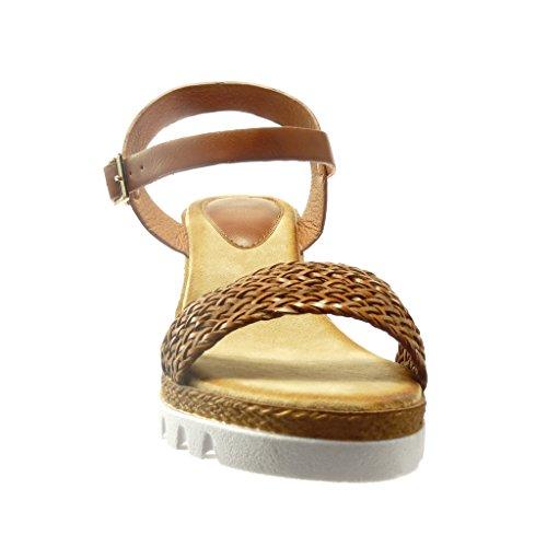 Angkorly - Scarpe da Moda sandali Espadrillas zeppe aperto donna corda Tacco zeppa piattaforma 7 CM - Marrone