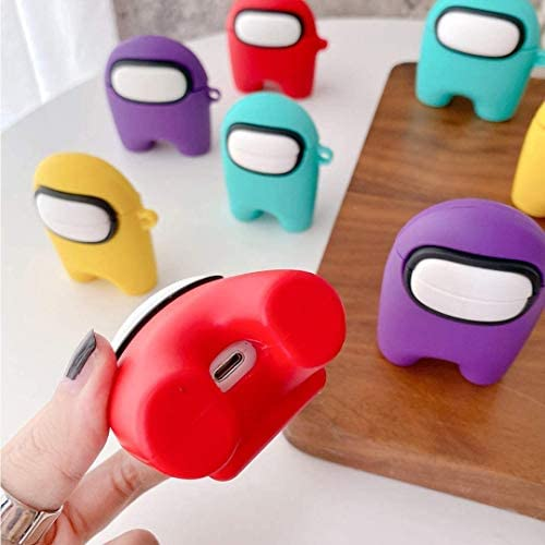 Among us Cute Cartoon Airpods case,for Airpods 1/2/professional Case Among Us Crewmate Impostor Protective Silicone Cover Have Carabiner,The Soft Silicone Prevents Falls and Scratches (Yellow, Airpods Pro)
