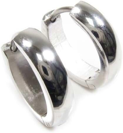 Pair Stainless Steel Polish Hoop Men Earrings