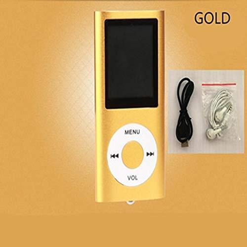 (Mp3 Player Music Radio FM Recorder Speler Lecteur HiFi Mp3 Sport Clip USB Aux Digital Led LCD Screen(Gold))
