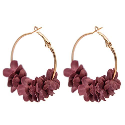 Flower Drop Earrings for Women Statement Colorful Petal Circle Big Fancy Earring Jewelry,Red Flowers ()
