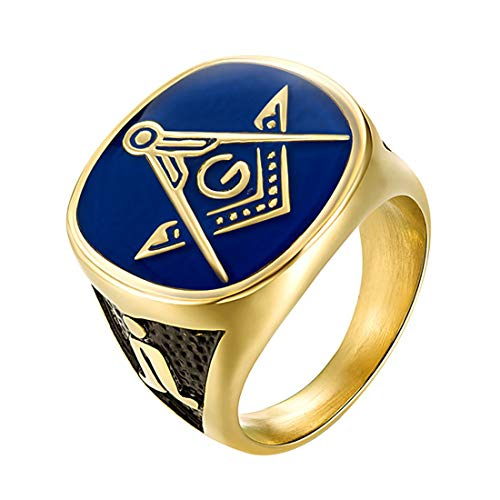 EZSONA Men's Stainless Steel Gold Plated Freemason...