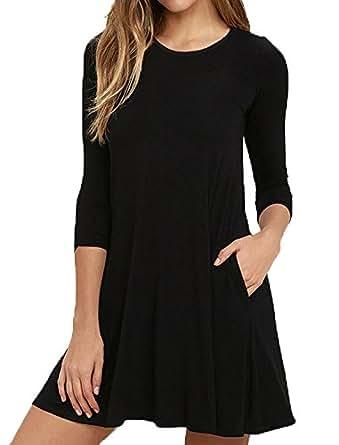 Zero City Casual Plain 3/4 Sleeve Simple T-shirt Loose Pockets Dress A01_3/4 Sleeve_black Small