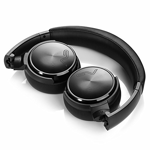 Wireless Bluetooth On-ear Headphones with Microphone and Volume Control, LASMEX HB-65 Compact Foldable Headphones for Travel (Black)