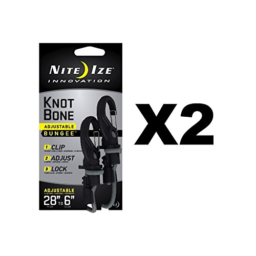 Nite Ize KnotBone Adjustable Bungee Small 5mm 6''-28'' w/ Carabiner Clip (2-Pack) by Nite Ize