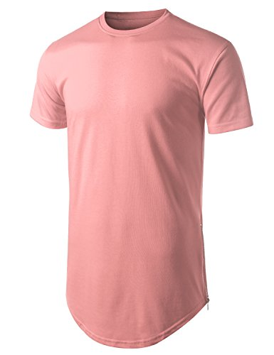 URBANCREWS Mens Hipster Hip Hop Basic Longline Crewneck T-Shirt Pink, M