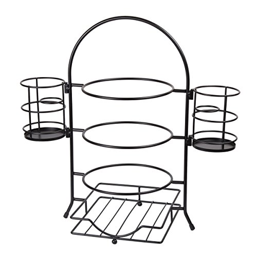 Creative Home 50273 3-Tier Plate Rack With Removable Flatware Holder Black ()