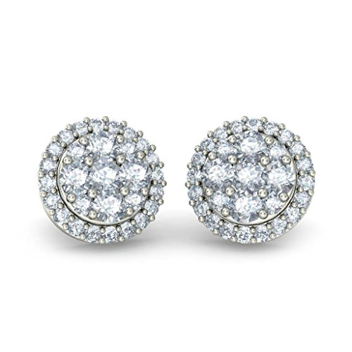 18 K Or Blanc 0.63 CT TW Round-cut-diamond (IJ | SI) Boucles d'oreille à tige
