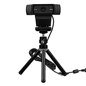 Lightweight Mini Webcam Tripod for Logitech Webcam C920 C922 Small Camera Tripod Mount Cell Phone Holder Stand (Black)