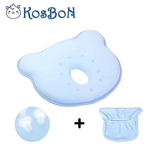 KSB 10 Inches Blue Soft Memory Foam Baby Pillow Head Positioner Neck Support,Prevent Flat Head Syndrome For 3 Months To 1 Year Old Infant (Bear Shape,Includes Pillow Case).