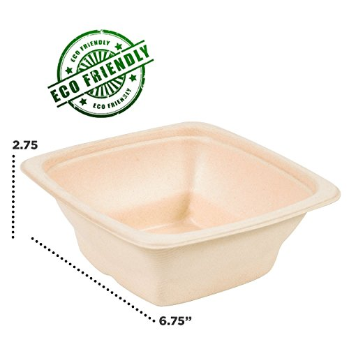Materials Recyclable (32 OZ PLASTIC SALAD PULP BOWLS MADE FROM COMPOSTABLE MATERIAL AND RECYCLABLE LIDS BY Pexale- PACK OF 10 (10))