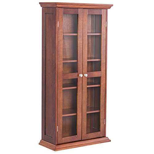 Tangkula Multimedia DVD/CD Storage Cabinet, Wooden Media Storage Cabinet, Multi-Functional Home Furniture Media Storage Tower with Tempered Glass Door, Brown