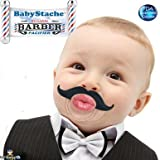 BabyStache Kissable Baby Pacifier | Kissable Barber Black | Cute & Funny Mustache Pacifiers for Babies | BPA Free, Latex Free, High Grade Silicone | For Newborns Infants & Toddlers