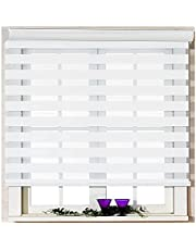 Tong Hao Zebra Roller Blinds Dual Layer Shades Horizontal Window Curtain Shade,Light Control to Sheer or Privacy,Day and Night Window Drapes.