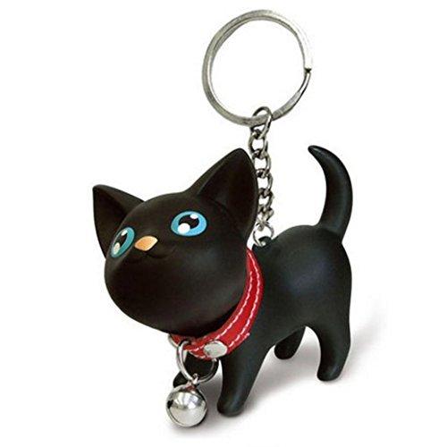 Malltop Cat Keychain, Cute Black Kitten Collar Bell Keyring For Handbag